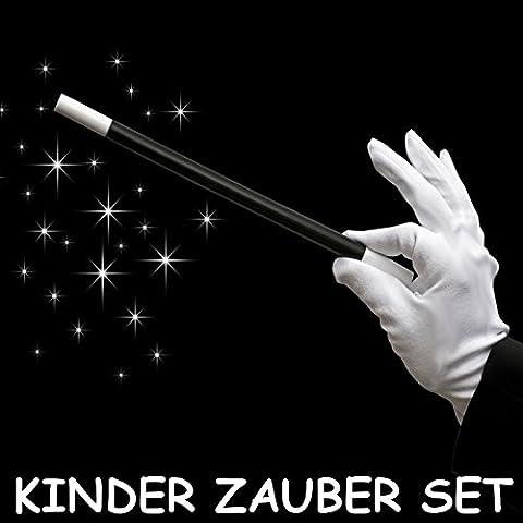 German Trendseller® baguette magique + gants en cotton blanc┃pour des enfants┃set pour petits magiciens┃show magique┃accessoire pour carnaval