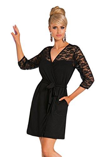 Donna - Robe de chambre - Manches 3/4 - Femme Noir