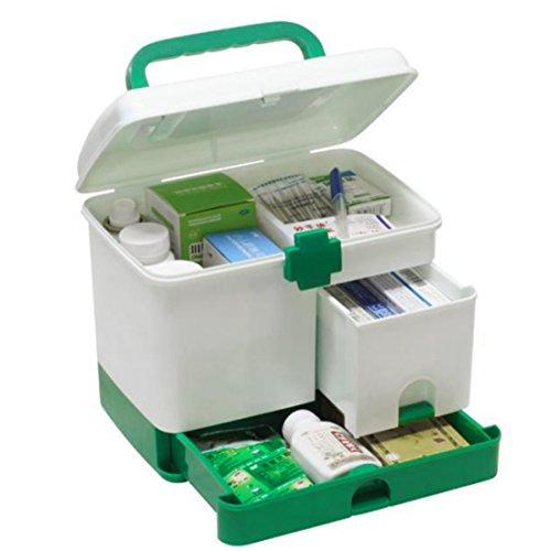 DYFO Hausapotheke Mehrfunktional Aufbewahrungsbox Medizin-Box mit Griff Erste Hilfe Box für Familie,Reisen,Rettung-Grün