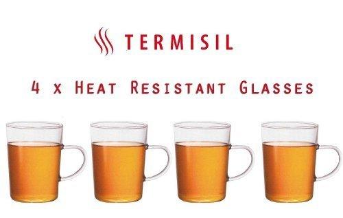 Termisil Glass Tasse 4 Stück 220ml Hitze Beständig Klar Glas Griff Kalt Tee Kaffee