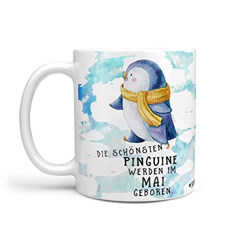 Sunnywall® Kaffeebecher Monats-Tasse Geburtstags-Tasse Geschenk-Tasse schwarz inkl. gratis Geschenkkarte Die schönsten Pinguine Werden im (Mai geboren)