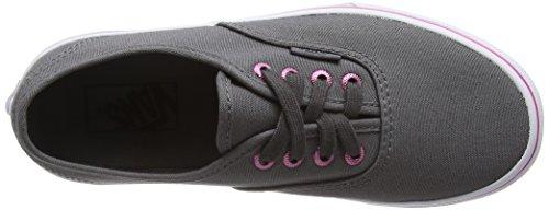 Vans Authentic, Baskets Basses Mixte Enfant Gris (Multi Eyelets perf/hot pink)