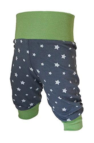 Tom und Lottchen Babyhose, Pumphose Sternchen Jungen oder Mädchen, Kinderhose, Jerseyhose grün, dunkelgrau mit Sternen (98/104)