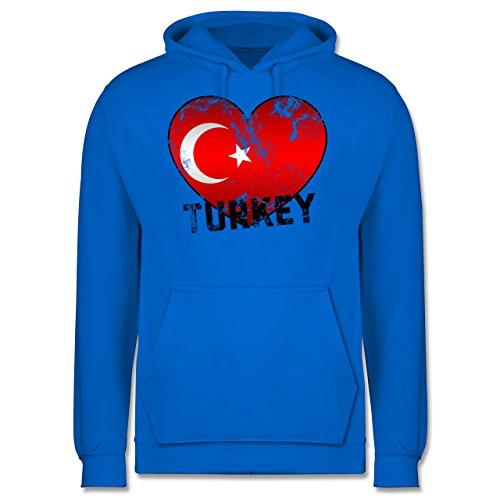 EM 2016 - Frankreich - Turkey Herz Vintage - Männer Premium Kapuzenpullover / Hoodie Himmelblau
