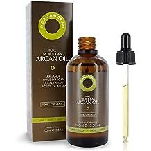 Olio di Argan Biologico Puro al 100% per Capelli, Pelle, Corpo e Unghie 100ml - Spremuto a Freddo in Marocco - Balsamo profondo e Anti-Età Emolliente / Anti-rughe Ultra Idratante
