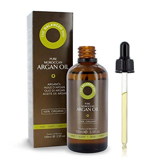 Reines Arganöl 100ml für Haar, Gesicht und Haut 100% rein, 1.Klasse, USDA Zertifiziert Biologisch, Ungeröstet, Kaltgepresst und Extra Natives Arganöl – Feuchtigkeitsspendend und Reich an Antioxidantien.