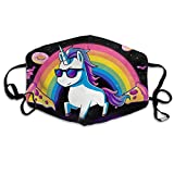 Vbnbvn Unisex Mundmaske,Wiederverwendbar Anti Staub Schutzhülle,Funny Rainbow Pizza Unicorn Adult Mouth-Masks Washable Safety 100% Polyester Comfortable Breathable Health Anti-Dust Half Face Masks