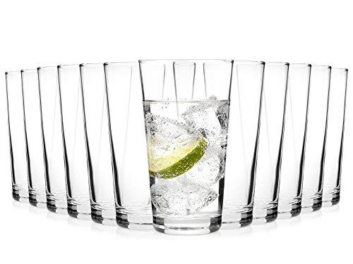 Bluespoon Gläser Set 'Stapello' 12er Set   Füllmenge der Trinkgläser 500 ml   Stapelbare Longdrinkgläser   Spülmaschinengeeignete Wassergläser