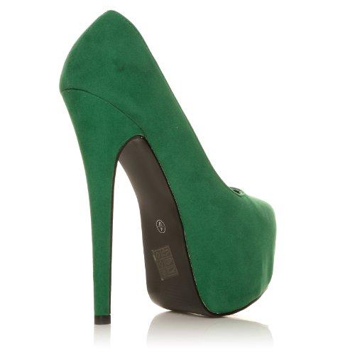 DONNA scarpe verdi tacchi a spillo altissimi camoscio sintetico plateau decolleté Camoscio verde