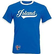 Island - Ringer Retro TS - blau - EM 2016 T-Shirt Trikot Look Iceland