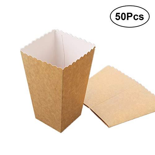 BESTOYARD 50 stücke Feste Papier Popcorn Box Hochzeit Süßigkeiten Lebensmittel Tasche Favors Birthday Party Dekoration Liefert Größe 1