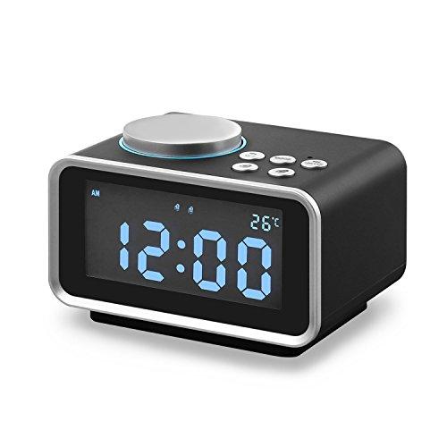 Digitaler Wecker mit FM Radio, Eaiitty Dual-Wecker mit Dual USB-Ladeanschluss, Schlummerfunktion, Innenthermometer, 6-stufige Helligkeit, Batterie-Sicherung (M3)