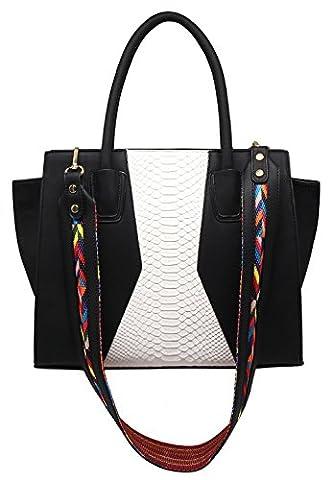CRAZYCHIC - Women Top-handle Python snakeprint bag - Tote handbag snake design - Large aztec colored shoulder strap - Lady bag - Designer style bag - Elegant Hobo - Imitation leather -