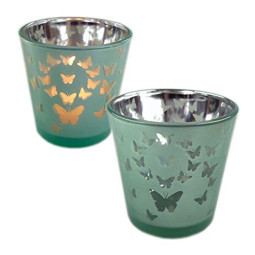 Dio only for you Teelichtglas Butterfly 2er-Set (pastellgrün)