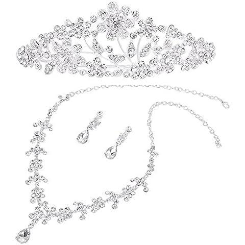 Pixnor Wedding Tiara collana orecchini Set floreale strass decorato (argento) - Strass Floreali Collana Orecchini