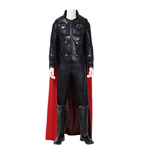 QWEASZER Thor 3 God of Thunder Cosplay Kostüm Marvel Avengers Superheld Kostüme Unterwäsche, Weste, Hosen, Umhang, Schuhe Halloween Kostümfest Cosplay Kostüm Requisiten,Black-XL -