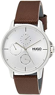 HUGO BOSS MEN'S SILVER WHITE DIAL BROWN LEATHER WATCH - 153