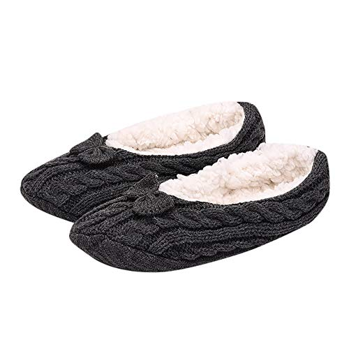 UJUNAOR Damen Unsichtbare Socken für Warme Winter - Dicke Rutschfeste Komfortabel Füßlinge Socken - Zuhause(F,One Size) - Winter-sport-muster-socken
