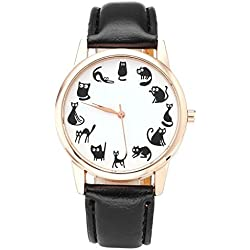 JSDDE Divertido Animal Series Doce Cute Cats Escala Rose Golden Correa de Piel sintética para Mujer niñas Cuarzo Reloj de muñeca, Negro