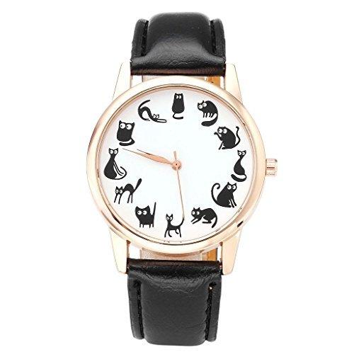 JSDDE Reloj Analógico de Cuarzo para Mujeres, Diseño Mono de Gatos Chic, Banda de Cuero, Carcasa Oro Rosa Elegante