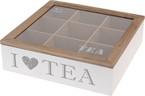 Mazali hz1002820–Bote para té de DM con tapa de madera, cristal, multicolor, 24x 24x 7cm