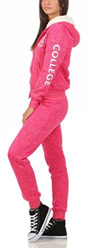 10627 Fashion4Young Hausanzug mit Kapuzenpullover I Jogginganzug Jacke Hose Sportanzug Fitness Trainingsanzug Wellnessanzug Pink