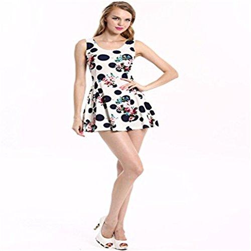 JERFER Womens Sleeveless Sommerblumen reizvolles dünnes Abend-Partei-Minikleid S (XXL, (Referenz Schmuck Vintage Kostüm)