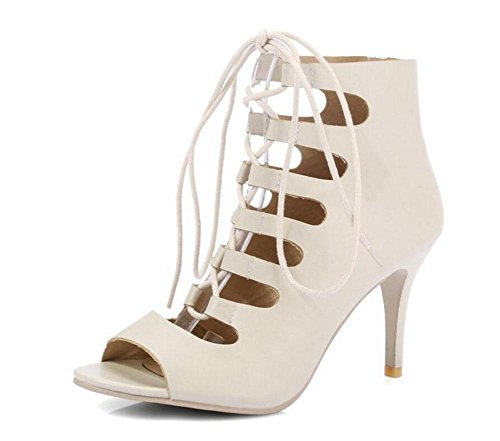 Donne pompe pigolio scarpe Cross-Strap tacco alto romana sandali vuoti Scarpette beige