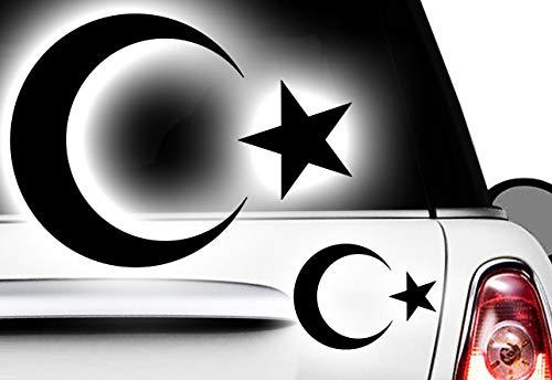 HR-WERBEDESIGN 2X Aufkleber Türkei Islam Turkey türkiye Flag Aufkleber Sticker Halbmond Stern 1