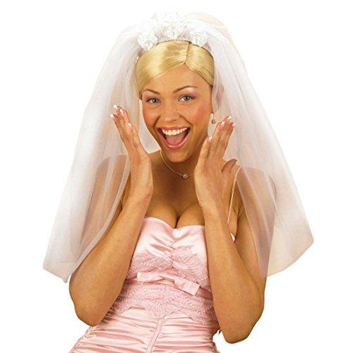 Brautschleier weiß Hochzeitsschleier Braut Schleier Fasching Hochzeit Kopfbedeckung JGA Party Junggesellinnenabschied Haarschmuck Junggesellen Mottoparty Accessoire Karneval Kostüm Zubehör