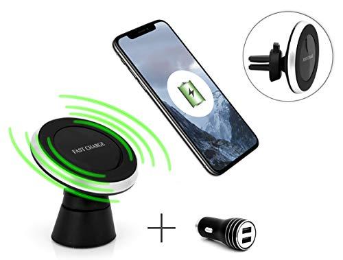 MyGadget Supporto Auto Magnetico Caricabatterie a Induzione - Bocchetta Aria/Cruscotto - Porta Cellulare Universale per Galaxy S10 S9, iPhone X XR XS Max