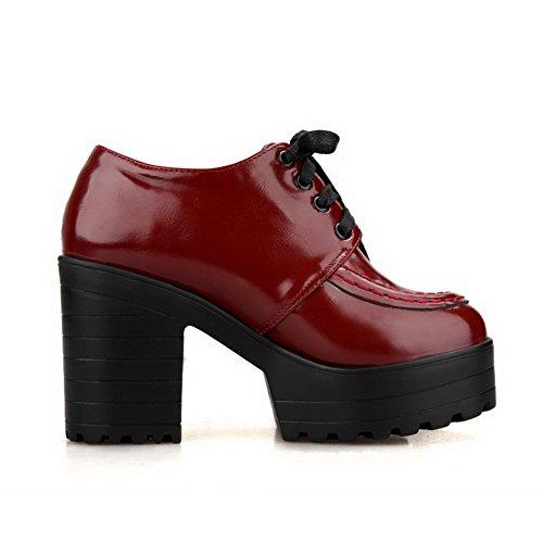 VogueZone009 Femme Matière Souple Rond à Talon Haut Lacet Couleur Unie Chaussures Légeres Rouge Vineux