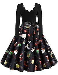 Pottoa Damen Weihnachten Kleider Langarm Weihnachtskleid Vintage Hepburn Cocktailkleid Weihnachten Druck Partykleid A-Linie Swing Kleid Dress