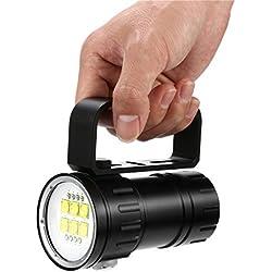 JIJI886 Lampe de Plongée, 80 mètres 28800 lumens, Phare de Plongée, Lampe de Poche sous-Marine, Lampe de Poche Plongée (Noir)