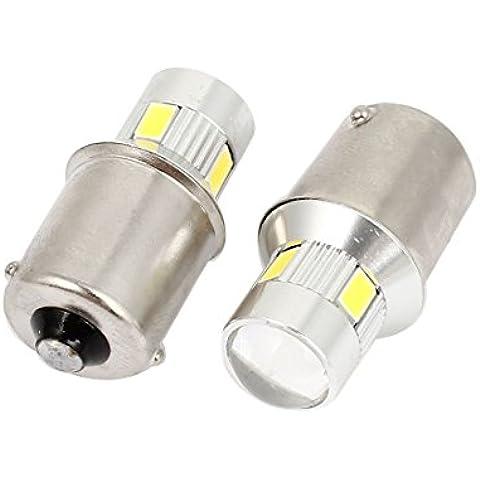 Par de coches 1156 6 5630 SMD LED del bulbo de la lente de frenado de parada de la luz blanca 12-30V