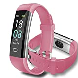 FDAWN Activity Tracker Watch with Heart Rate Monitor, Waterproof Smart Fitness Band with Step Counter, Calorie Counter, Pedometer Watch for Kids Women And Men (Rosa)