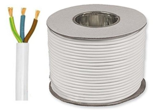 50 METER CARRETE/TAMBOR COLOR BLANCO 2 5 MM 3183Y 3 CORE 24 AMP CABLE FLEXIBLE
