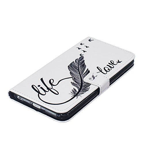 Hülle für iPhone 6 6S, Tasche für iPhone 6 6S, Case Cover für iPhone 6 6S, ISAKEN Malerei Muster Folio PU Leder Flip Cover Brieftasche Geldbörse Wallet Case Ledertasche Handyhülle Tasche Case Schutzhü Feder Liebe