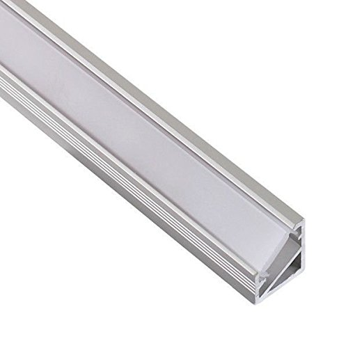 TL1614 - Perfil angular de aluminio anodizado, 1m, 45°, para tiras LED, con cubierta opaca, tapas y grapas de montaje incluidas