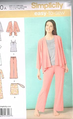 Simplicity Easy-to-Sew Pattern 1720 Misses Knit Nightgown, Robe, Top, Pants, Pajama Bag Sizes 4-24 XXS-XXL by Simplicity Patterns