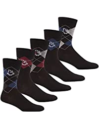 PIERRE ROCHE Men's Designer Cotton Rich Argyle Diamond Socks Gift Box Set 6-11