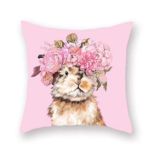 CHJTKDT Kissenbezug Cartoon Tiermalerei Kissenbezug Blumen Rosa Blau Gelb Grün Katze Hund Llama Lenden Sofa CouchKissenbezugDekoration45 cm X 45 cm