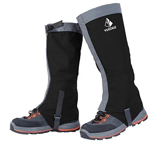 YUEDGE Unisex Sealed Velcro con cierre de cremallera de agua de prueba alta Pierna Polainas esencial para:outdoor,pesca,investigación,recorta hierba,caza,color Gris&Negro