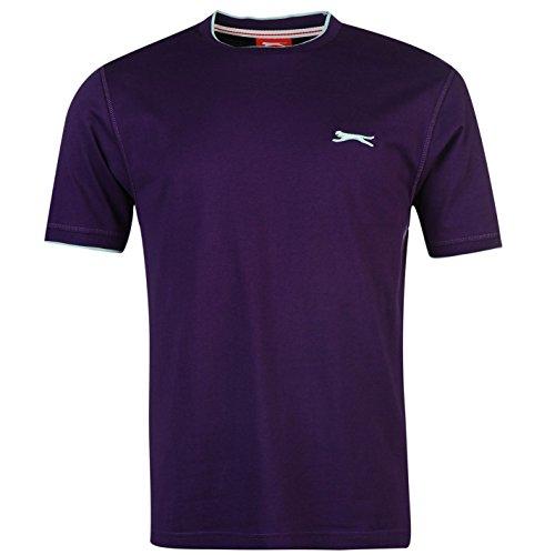 Slazenger Herren Tipped T Shirt Kurzarm Rundhals Tee Top Bekleidung Kleidung Violett