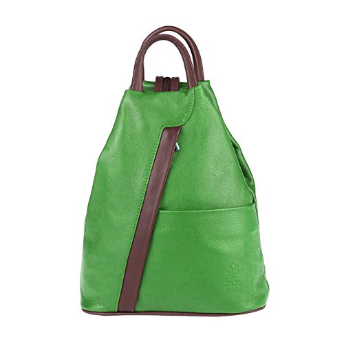 OBC Made in Italy Damen echt LEDER Rucksack Lederrucksack Tasche Schultertasche Ledertasche Rucksack Handtasche Nappaleder (Grün-Braun)