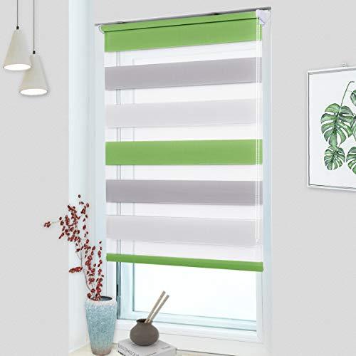 OUBO Doppelrollo Klemmfix ohne Bohren 85x 150 cm (BxH) Grün-Grau-Weiß Fenster Duo Rollo - lichtdurchlässig und verdunkelnd Wandmontage Deckenmotage Sichtschutz Rollo mit Klemmträgern