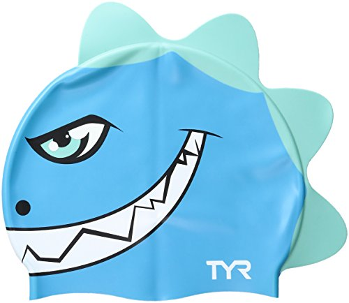 TYR Kinder Badekappe Dino Destroyer, Unisex, LCSBDNO, blau/grün, Einheitsgröße -