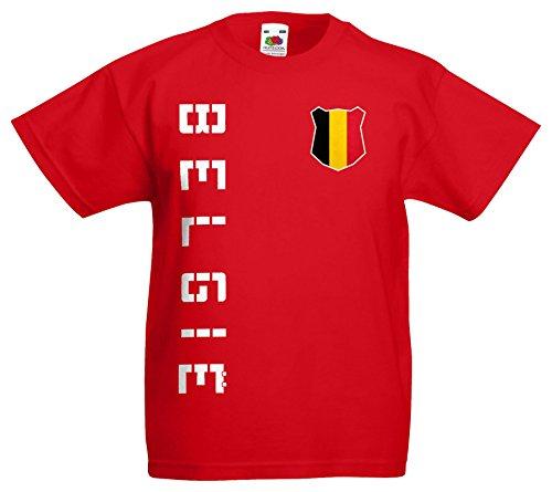 AkyTEX Belgien Belgie Kinder EM 2016 T-Shirt Trikot Name Nummer (Rot, 152)