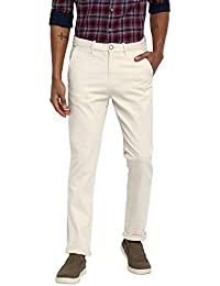 RUF & TUF Solid Off White Coloured Cotton Blend Trouser