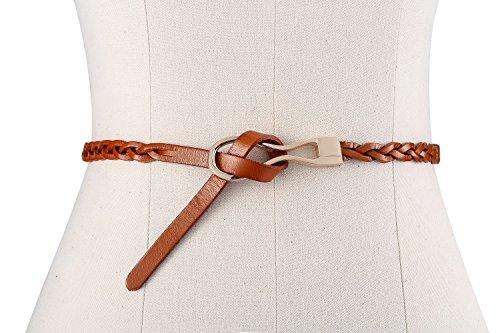 Motase Echtledergürtel Damen Dünn Braided Kleid Gürtel Bräunen XL